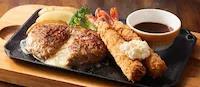 チーズインハンバーグ&海老フライ