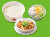 鶏のバター醤油炒め定食ポテトサラダセット